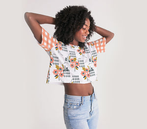 Opie Floral Gingham Oversized Cropped Tee