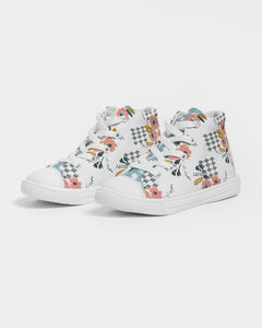 Opie Floral Gingham Kid's High Top Canvas Shoes