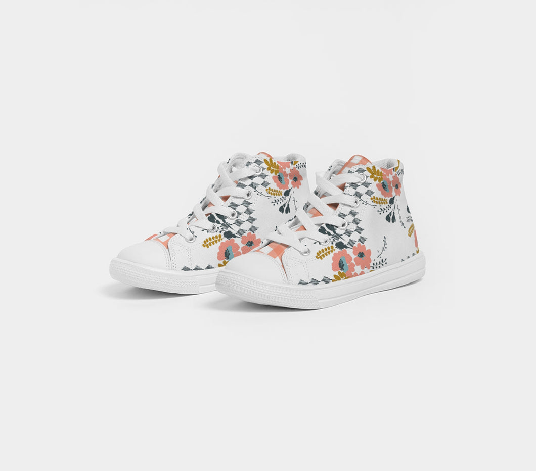 Opie Floral Gingham Kids High Top Canvas Shoes