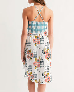 Opie Floral Gingham Hi-Lo Hem Halter Dress