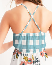 Load image into Gallery viewer, Opie Floral Gingham Hi-Lo Hem Halter Dress