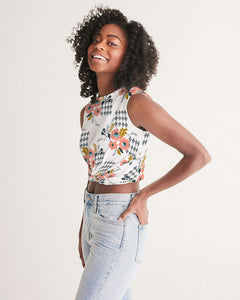 Opie Floral Twist-Front Cropped Tank Top