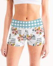 Load image into Gallery viewer, Opie Floral Gingham Yoga Shorts