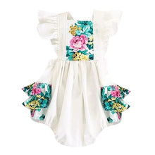 Load image into Gallery viewer, Rilynn Flutter Sleeve Floral Romper
