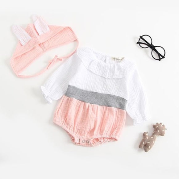 Bea Long Sleeve Romper + Bunny Ear Bonnet