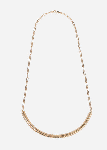 1/2 Gold Round steel raber necklace 7 MM (gold)