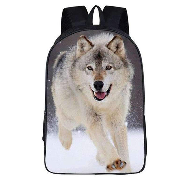backpack with wolf