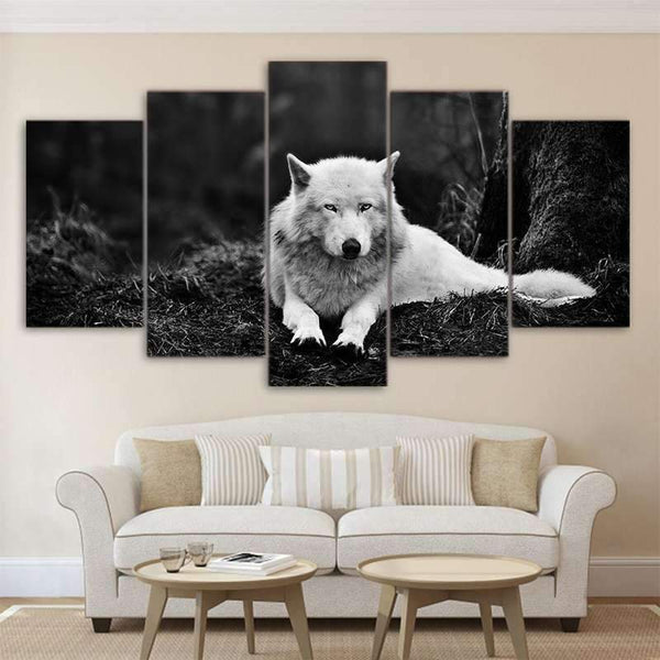 black and white wolf canvas