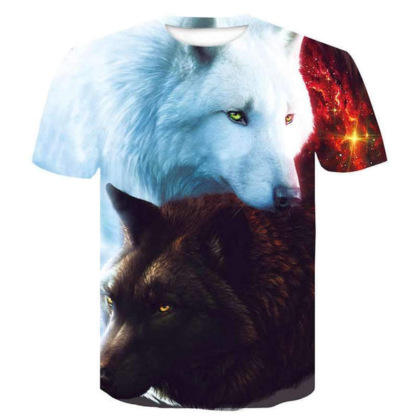 black and white wolf t shirt