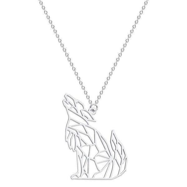 buy silver wolf necklace