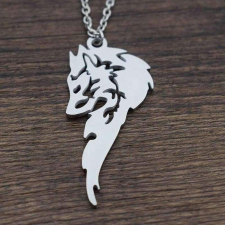 couple necklace wolf