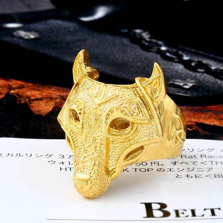 gold wolf head ring