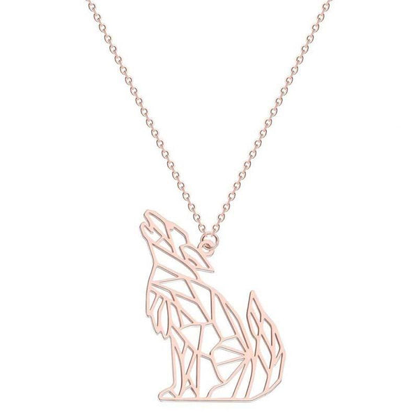 gold wolf womens necklace