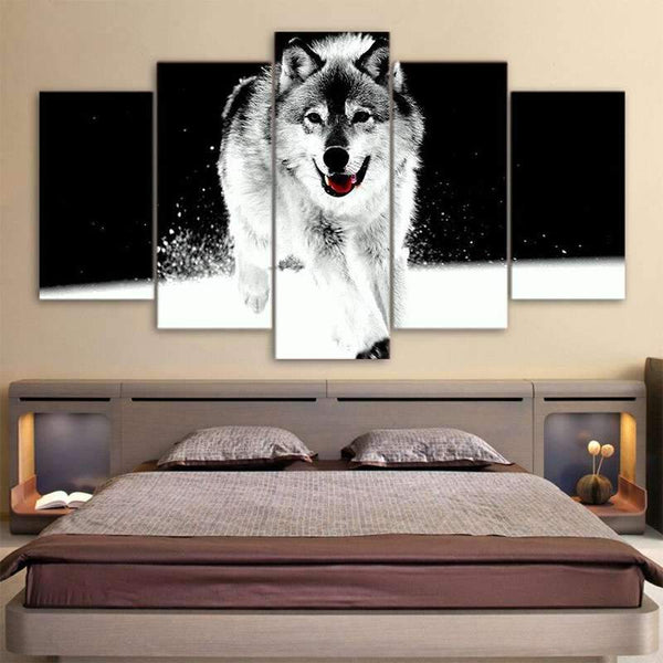 grey wolf painting