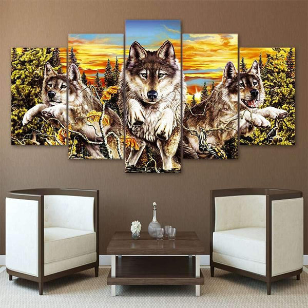 large wolf painting