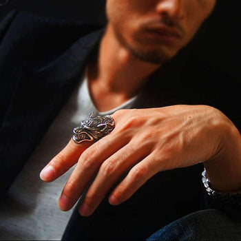 mens wolf ring jewelry