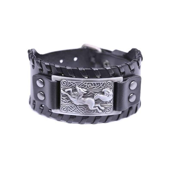 mens leather wolf bracelet