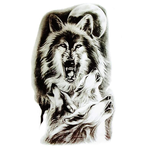 mens wolf tattoo sleeve