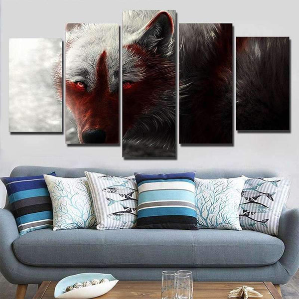 red wolf painting