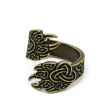 silver celtic wolf ring