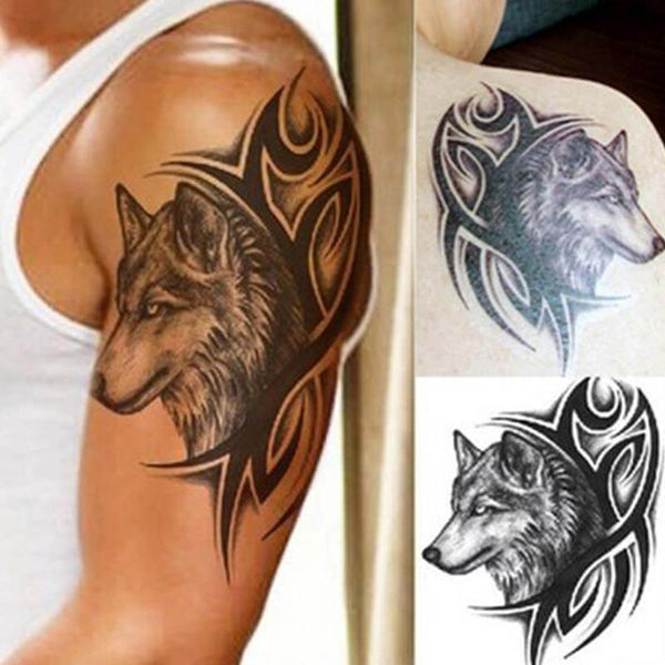 temporary tribal wolf tattoo