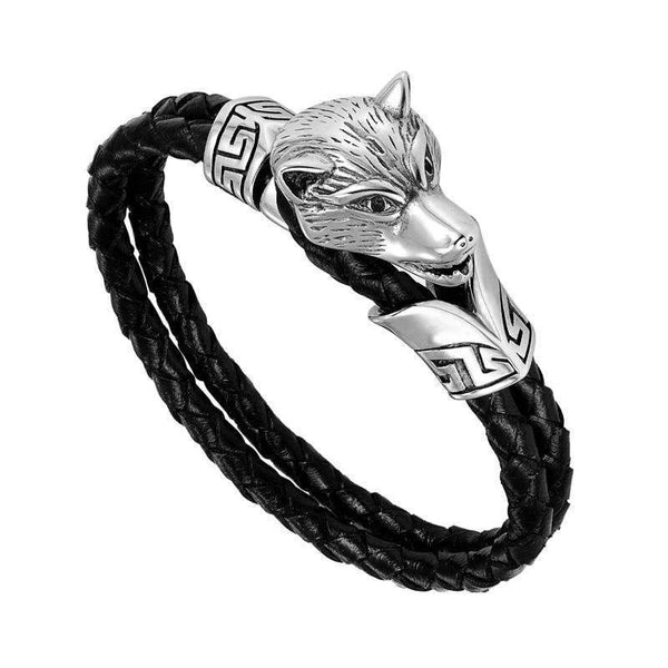 viking bracelet wolf head