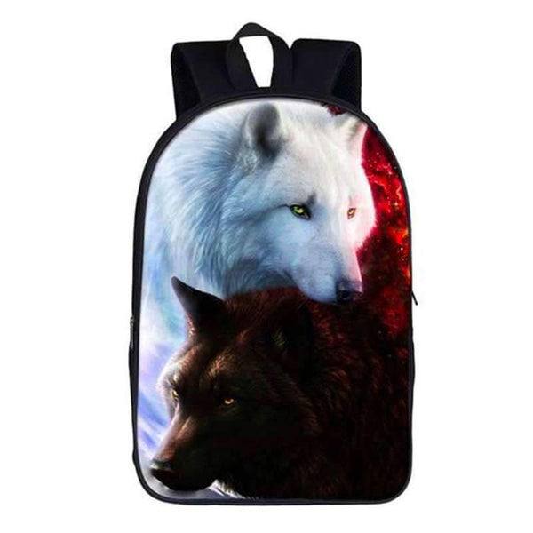 white and black wolf backpack