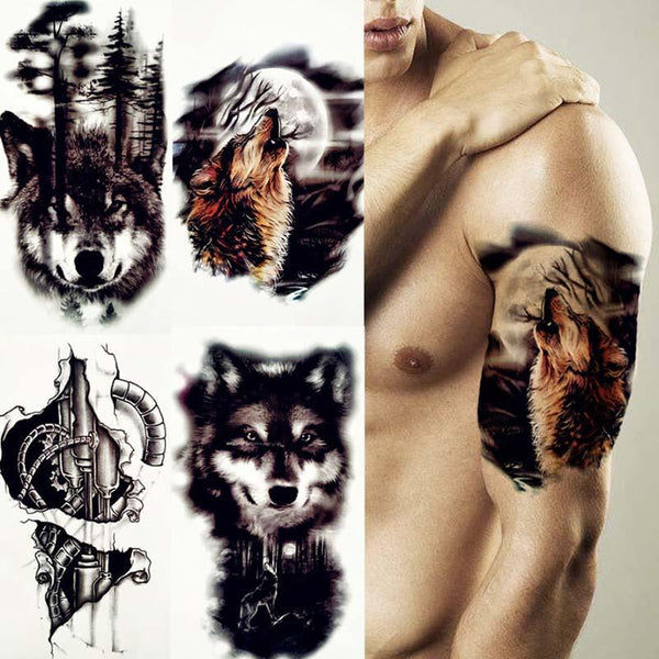 wolf moon temporary tattoo