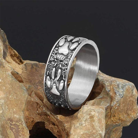 wolf paw steel ring