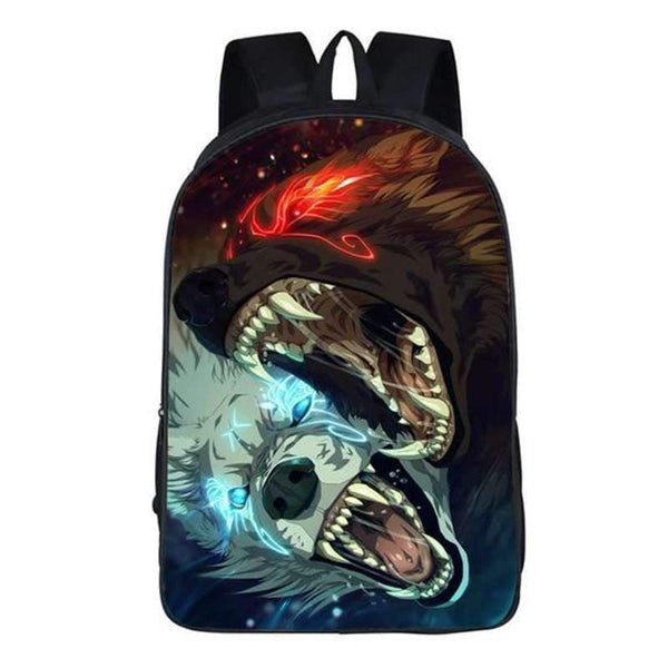 wolf print backpack