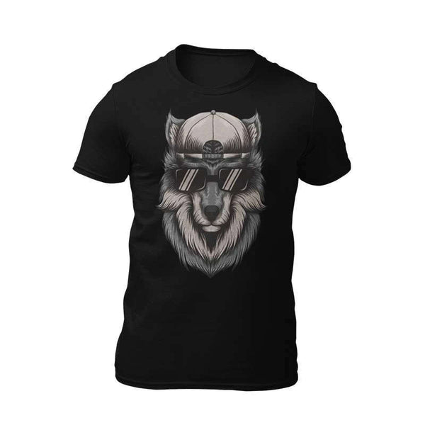 wolf wearing glasses t shirt