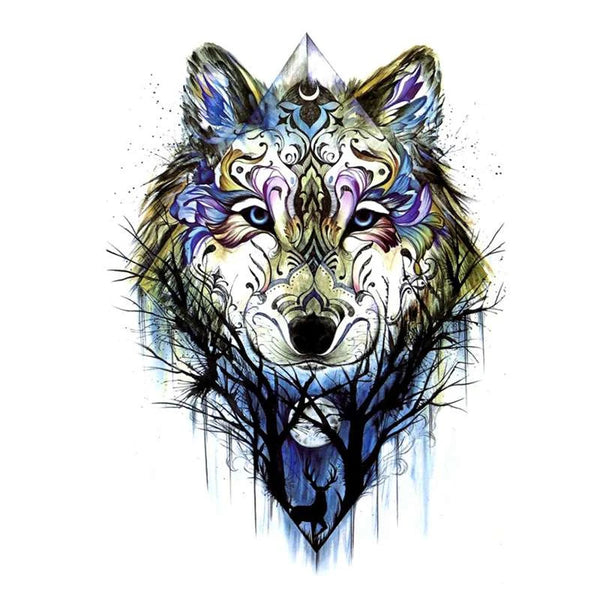 wolf and deer tattoo