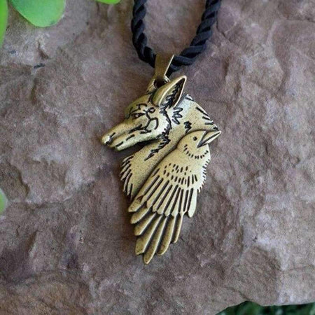 wolf and raven gold necklace