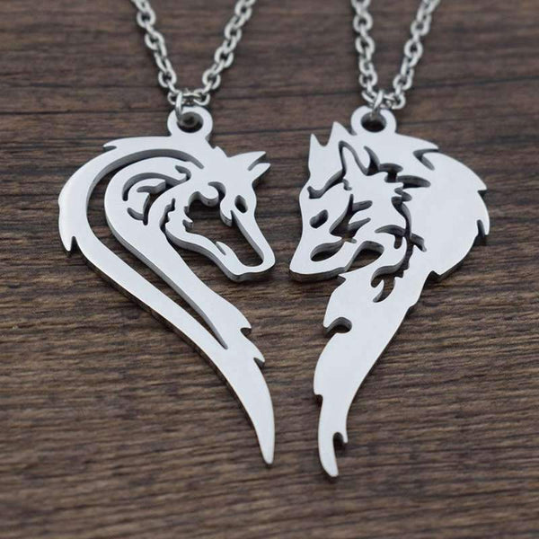 wolf couple necklace
