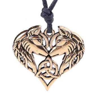 wolf necklace heart