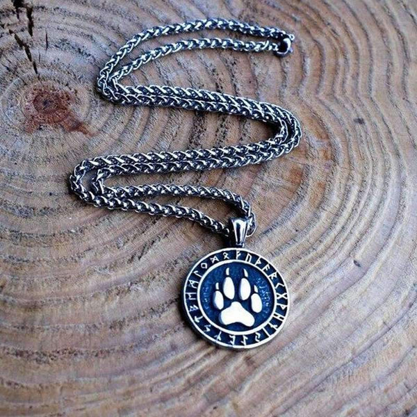 wolf paw mood necklace