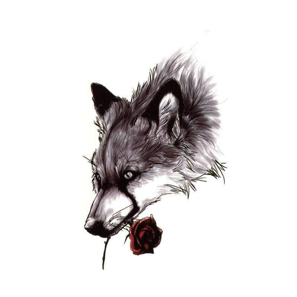 wolf rose tattoo