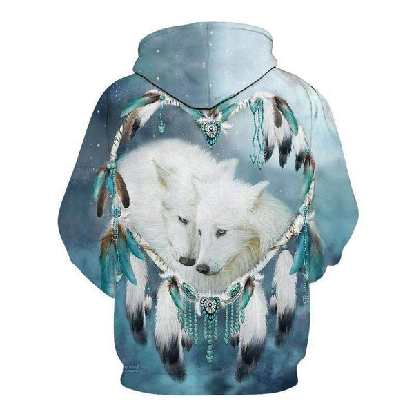 wolf themed hoodies with feathers