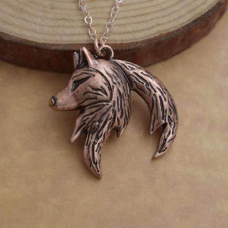 wolf yin yang necklace bronze