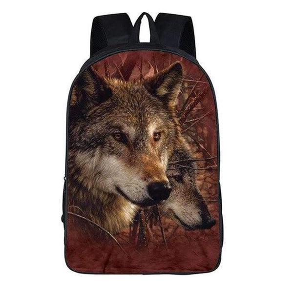 wolves couple backpack