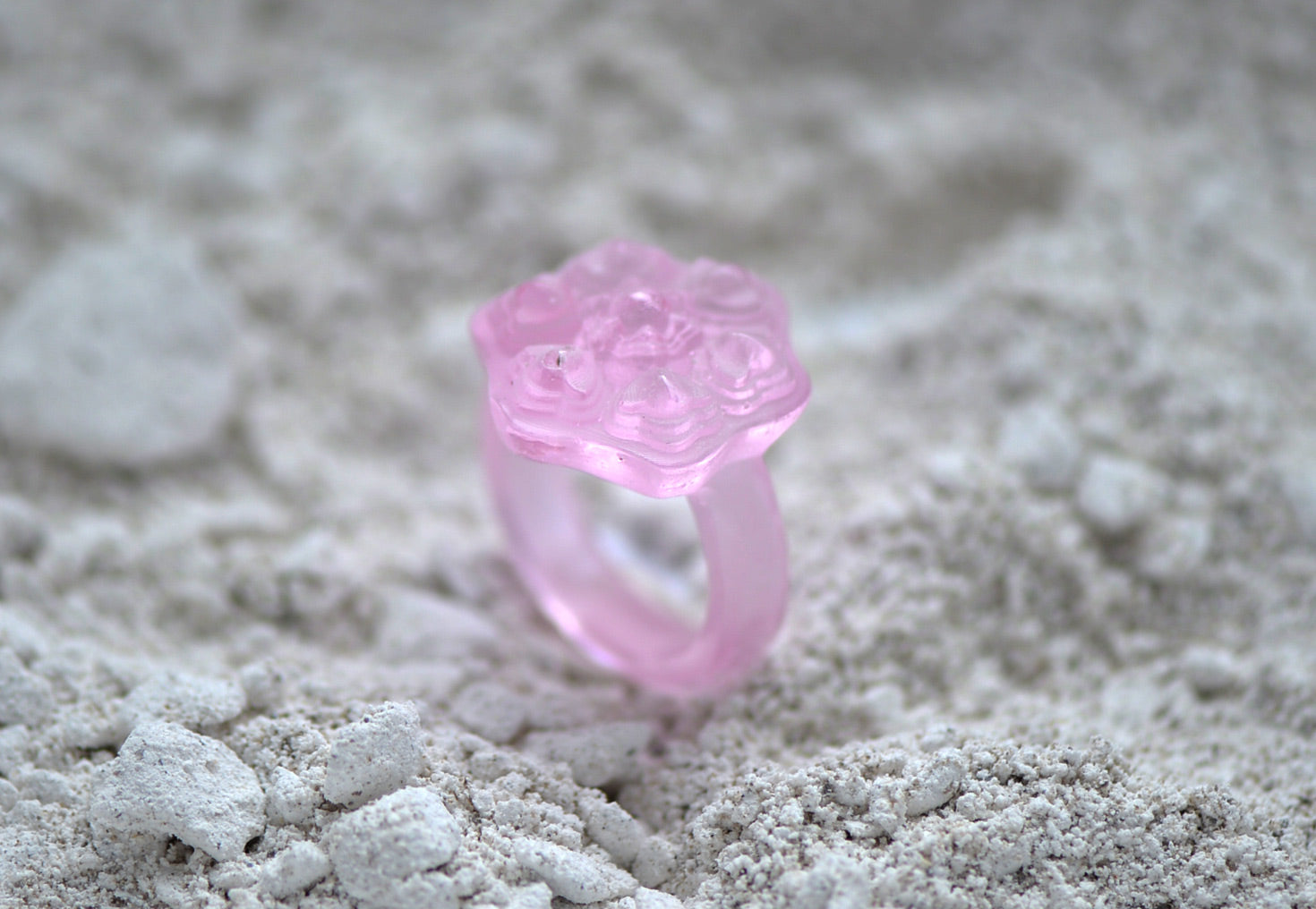 Fine Glass Casting Pink Ring