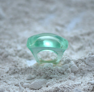 Deco Ring Jumbo Size Green made in Fine Casting Glass