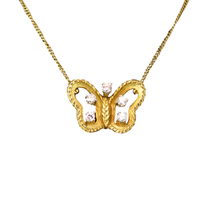 Gouden Butterfly Diamant Ketting