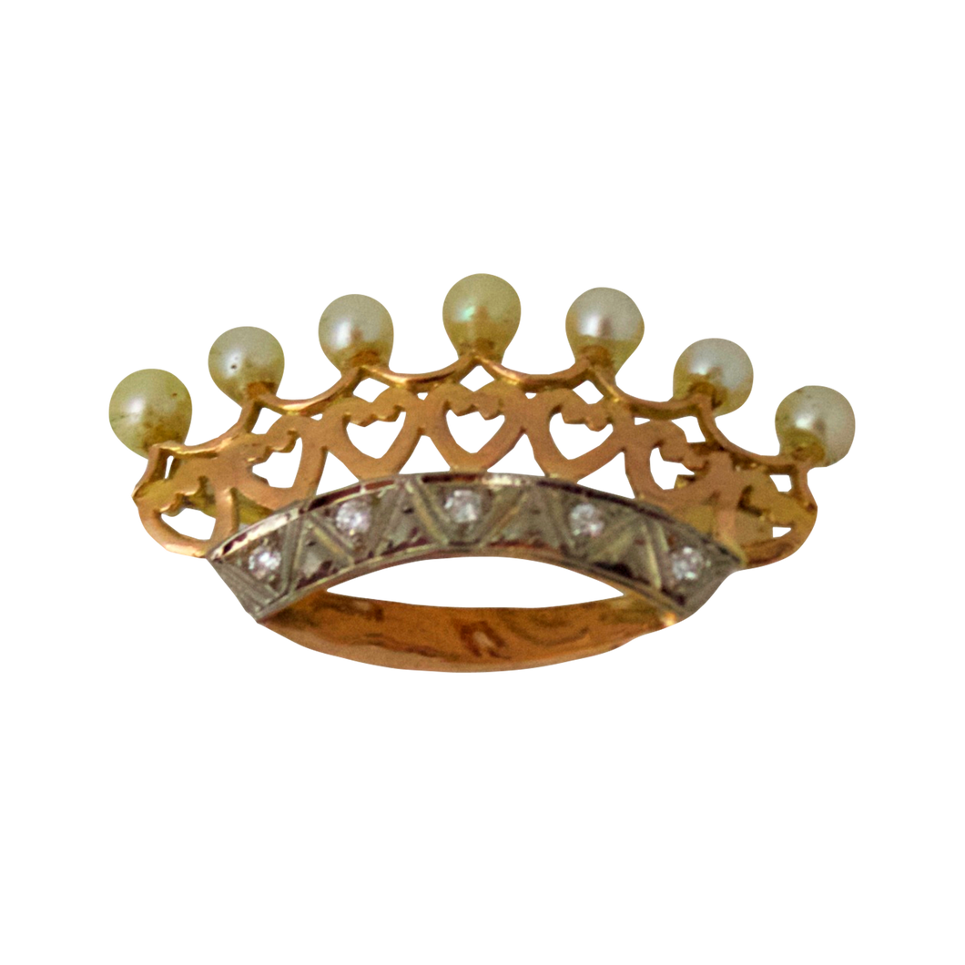 Gouden Crown Parel Diamant Broche