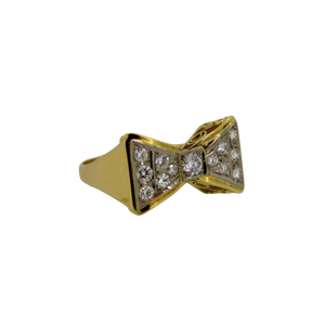Geelgouden Strik Diamant Ring