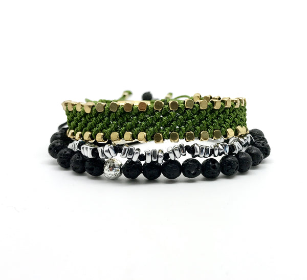 Stacks- Black & Green Bracelet