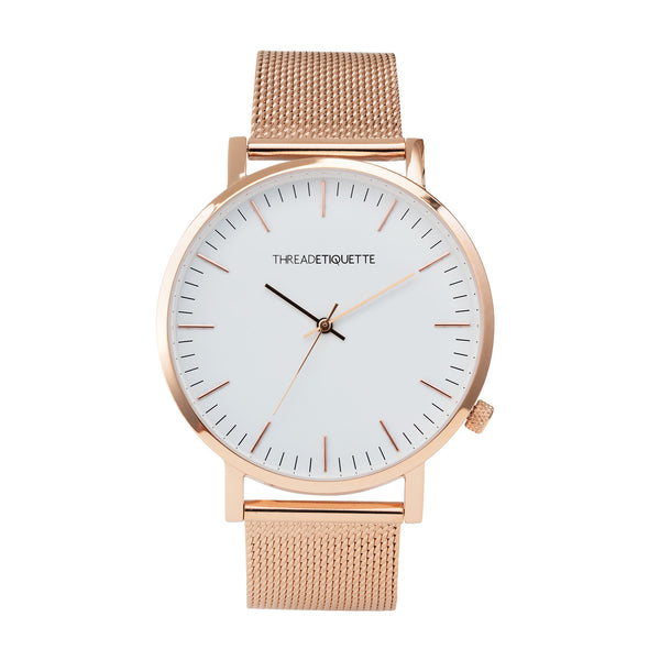 Classic - Rose gold / White Face Mesh Timepiece