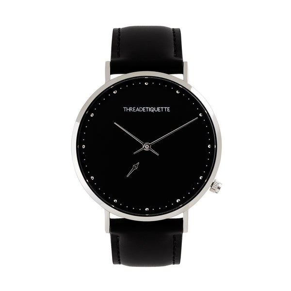 Chrono – Silver / Black Face/ Black Leather Timepiece