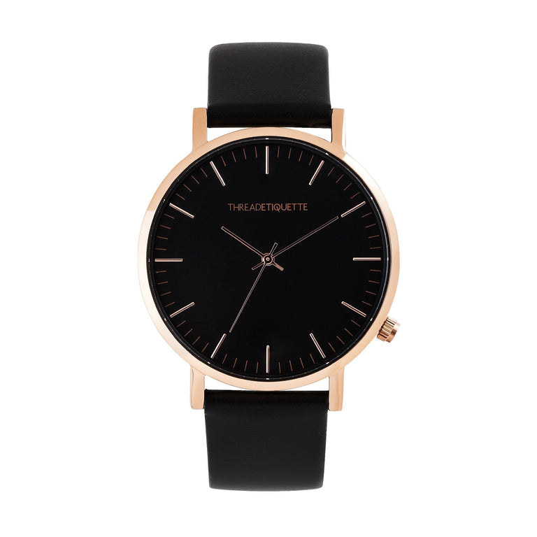 Classic – Rose Gold / Black Leather Timepiece