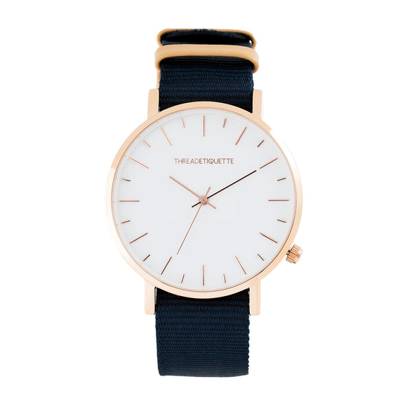 Minimalist – Rose Gold / Navy Canvas Timepiece
